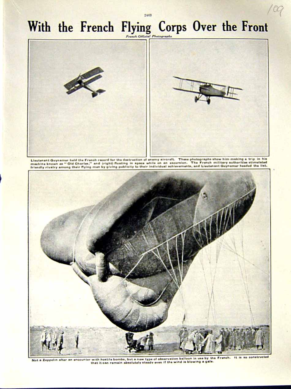 [Print 1916 World War Lieutenant Guynemer Zeppelin Flying 109E287 Old Original]