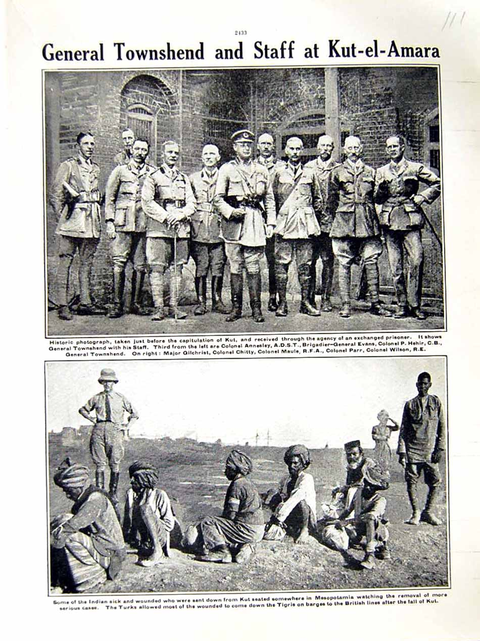 [Print 1916 World War General Townshend Kut-El-Amara Soldiers 111E287 Old Original]
