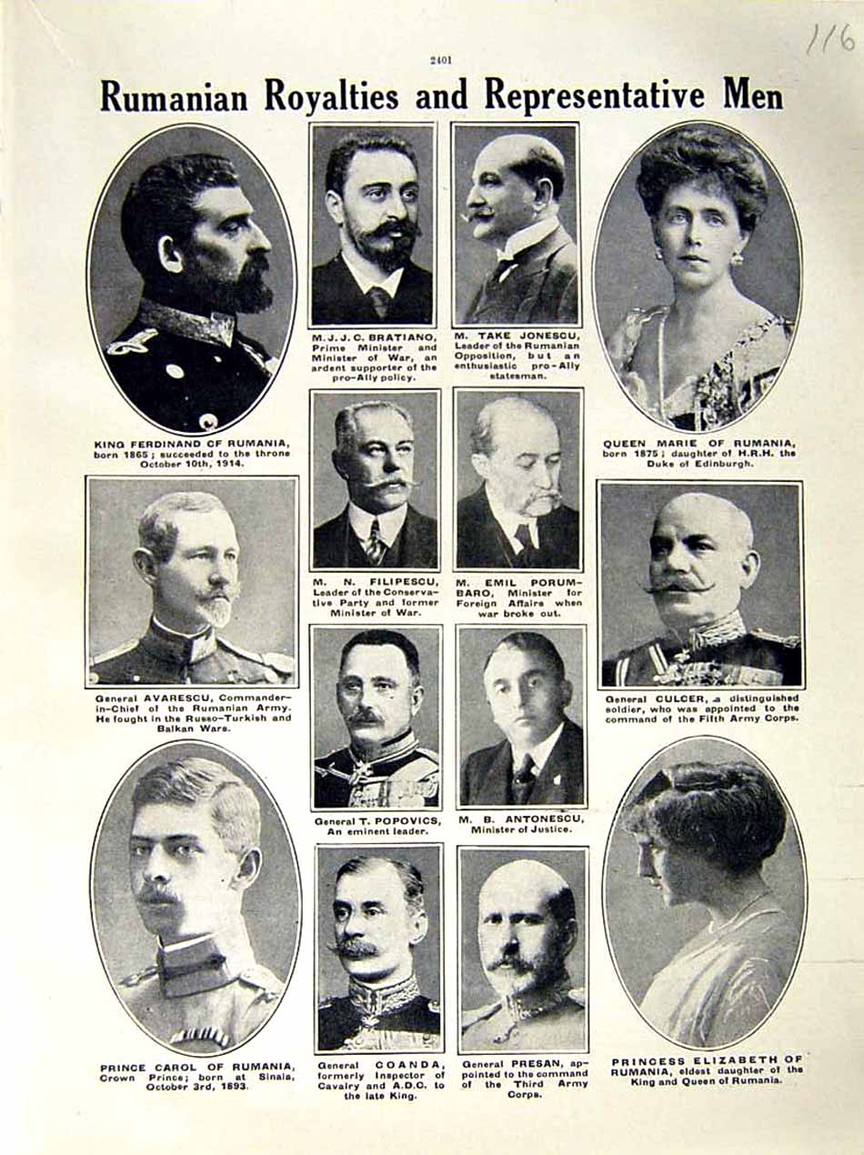 [Print 1916 World War Rumania Royalty Carol Ferdinand Marie 116E287 Old Original]