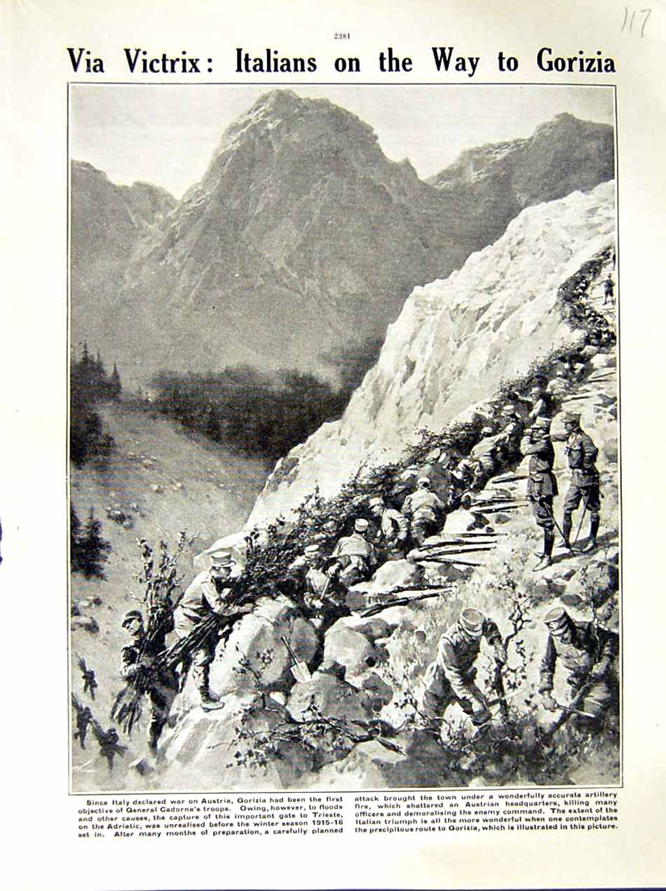 [Print 1916 World War Austria Gorizia General Cadorna Soldiers 117E287 Old Original]