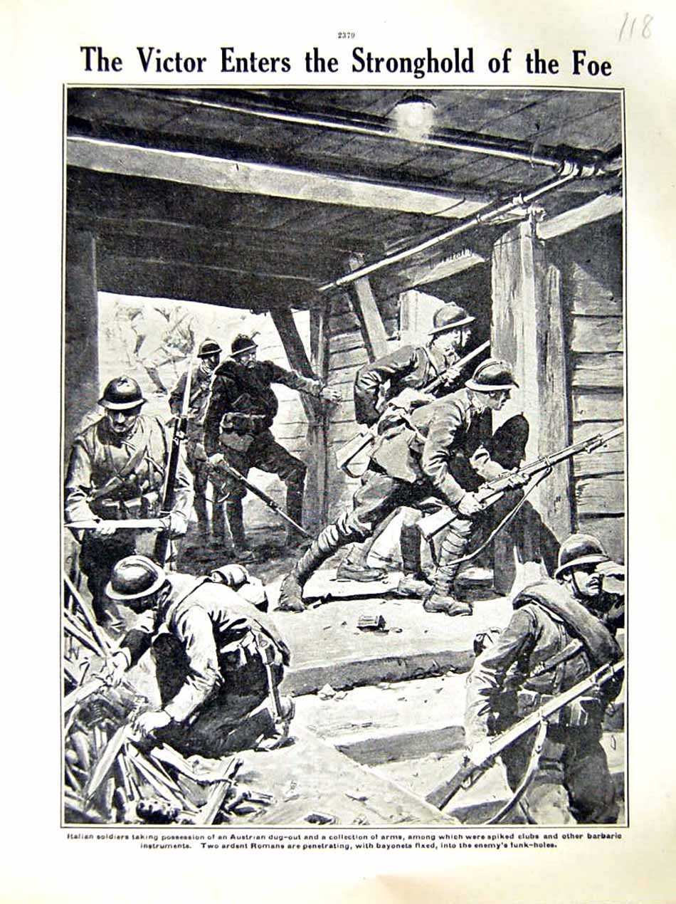 [Print 1916 World War Italian Soldiers Austrian Dug-Out Arms 118E287 Old Original]