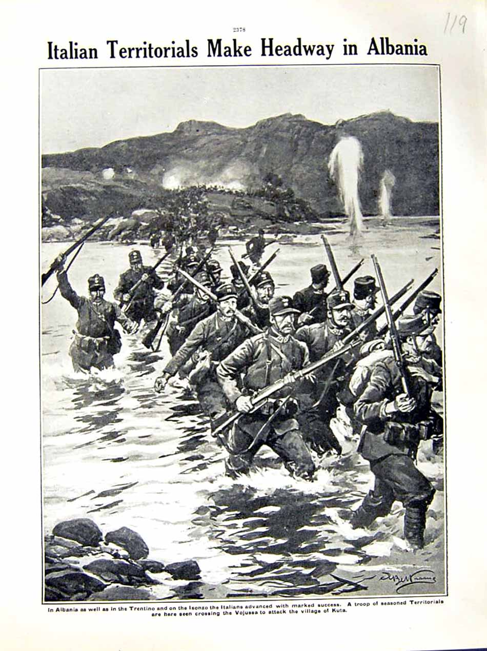 [Print 1916 World War Albania Trentino Soldiers Isonzo River 119E287 Old Original]