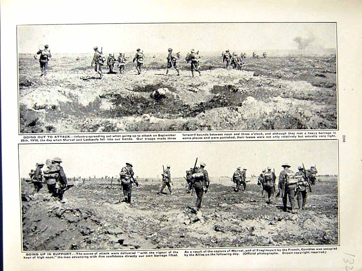 [Print 1916 World War Infantry Soldiers Morval French Combles 132E287 Old Original]