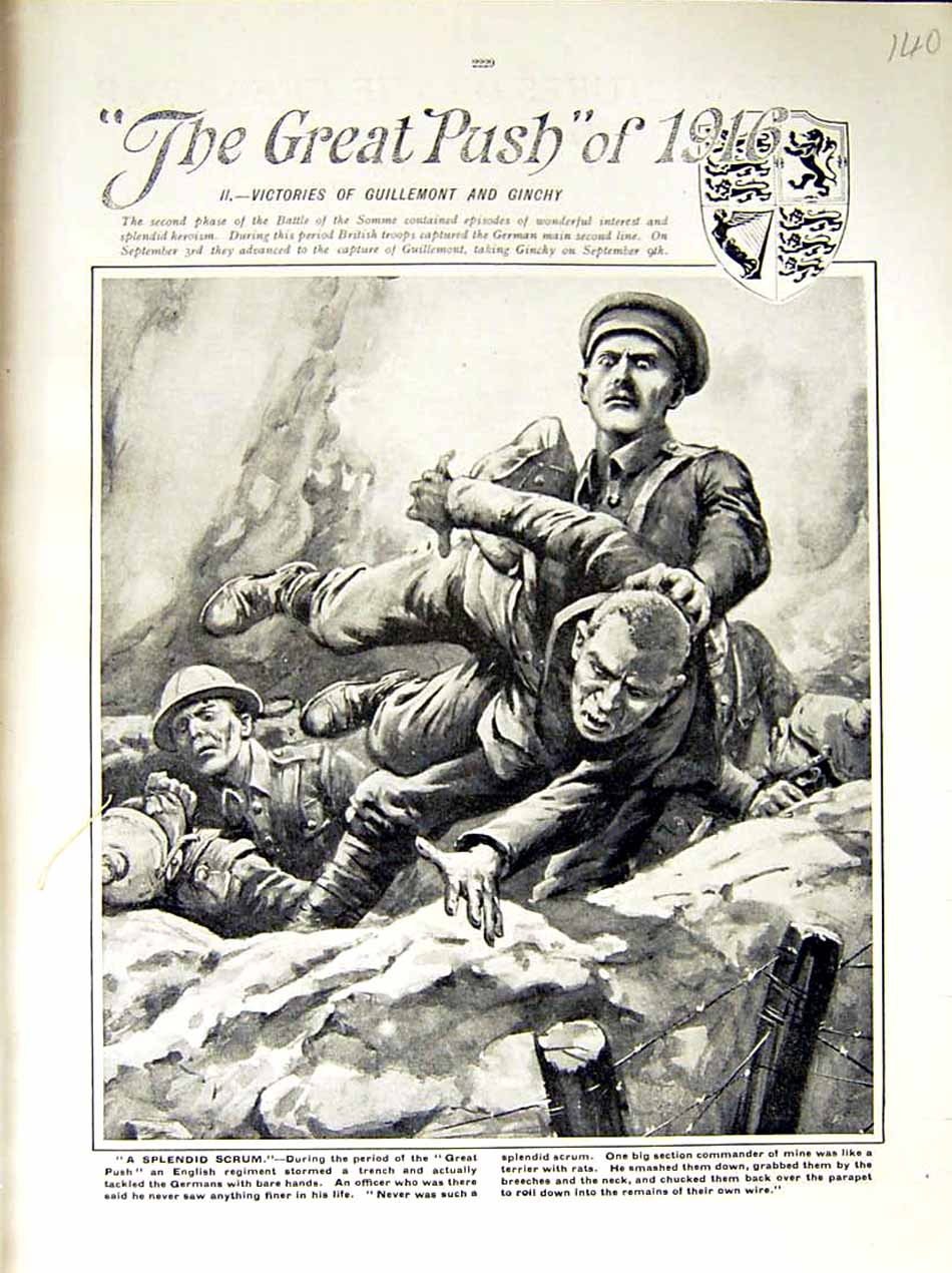 [Print 1916 World War English Soldiers Trench Somme France 140E287 Old Original]