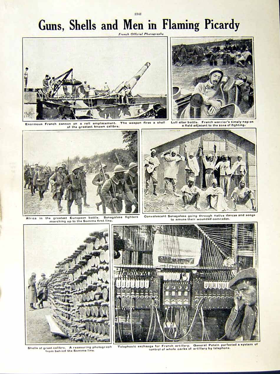 [Print 1916 World War British Soldiers Somme French Cannon 201Re287 Old Original]