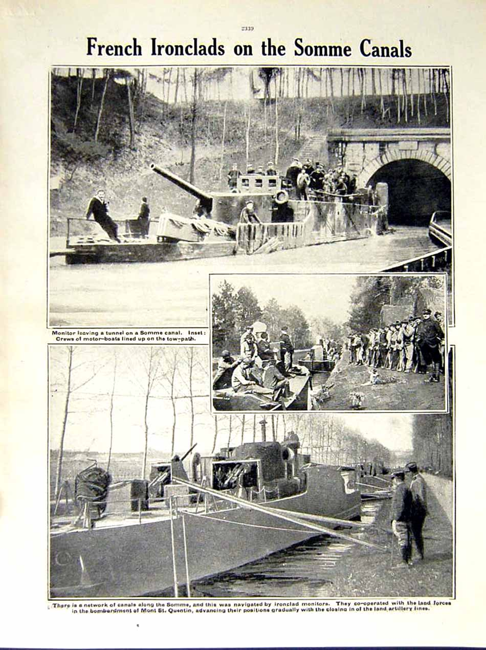 [Print 1916 World War Somme Soldiers Horses French Boats Canal 202Re287 Old Original]