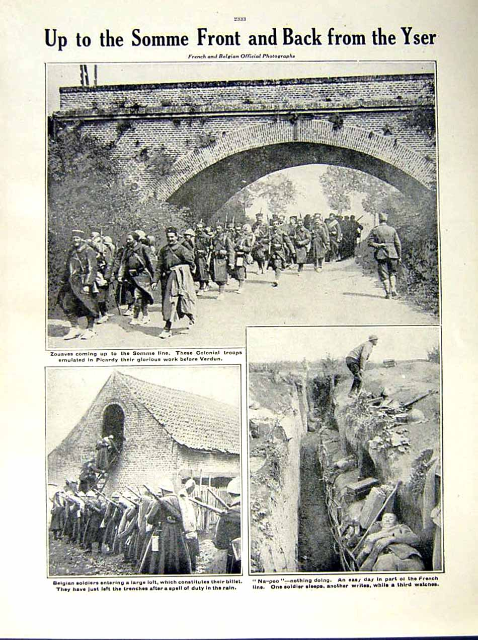 [Print 1916 World War French Artillery Somme Soldiers Zouaves 203Re287 Old Original]