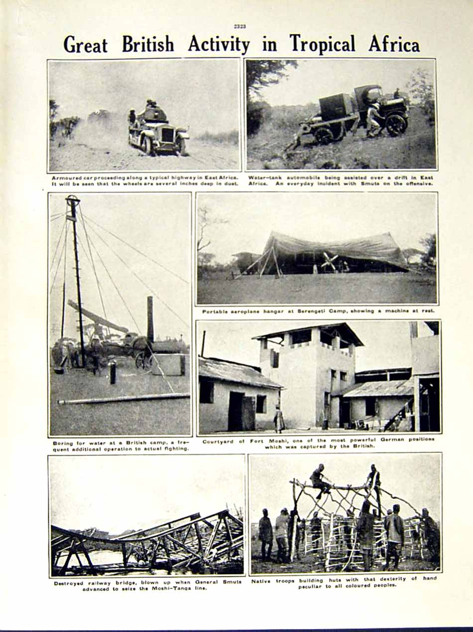 [Print 1916 World War General Smut Africa Fort Moshi Natives 207Re287 Old Original]