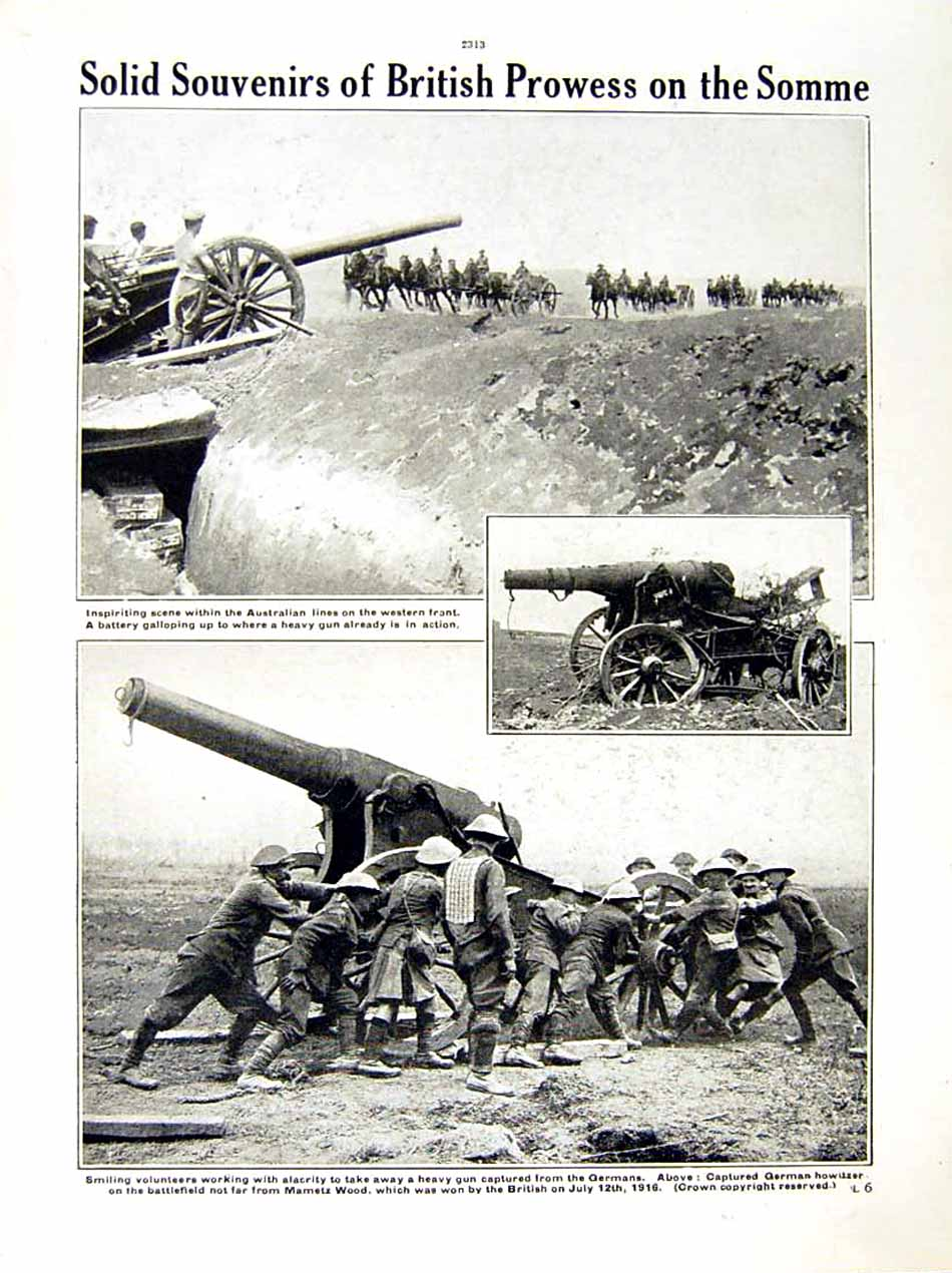 [Print 1916 World War Scottish Soldiers Somme Anzacs Howitzer 212Re287 Old Original]