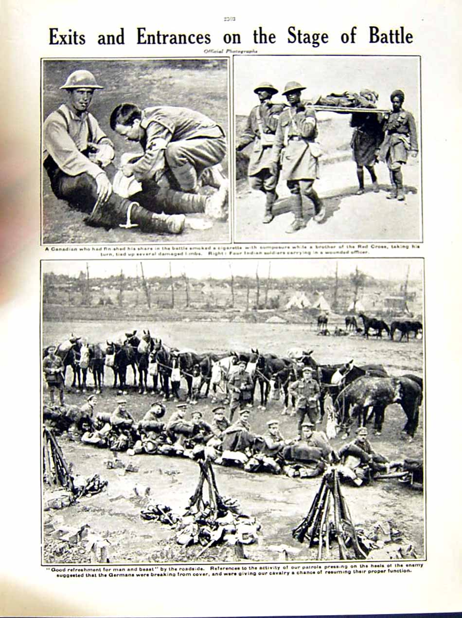 [Print 1916 World War Guillomont Soldiers Canada Red Cross 215Re287 Old Original]