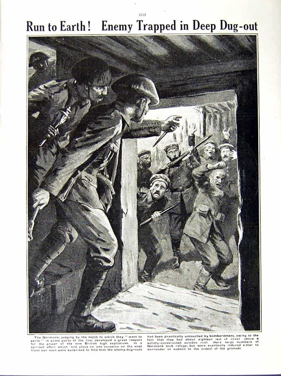 [Print 1916 World War G.P.O Soldiers Pozieres Germans Dug-Out 231Re287 Old Original]