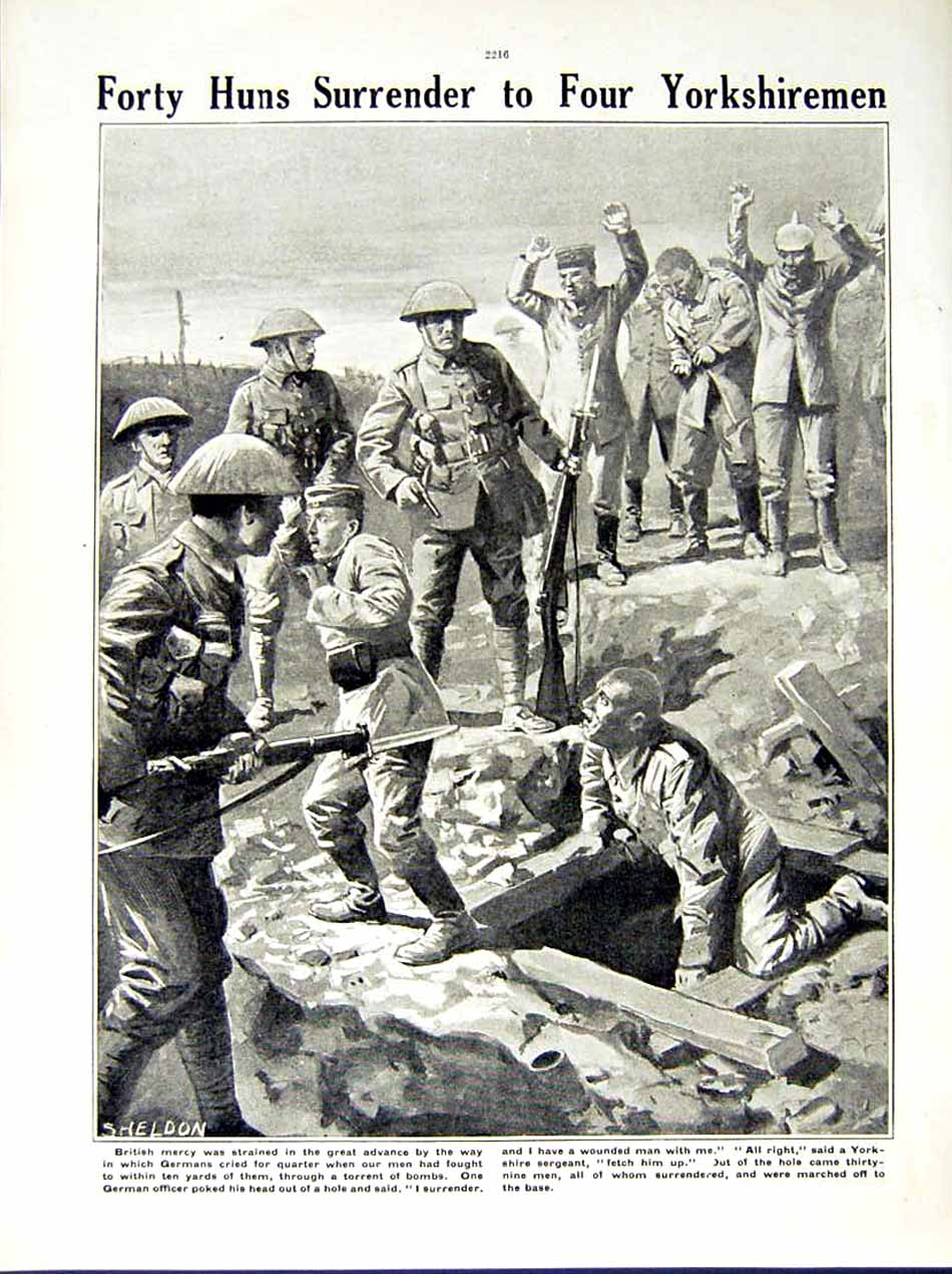 [Print 1916 World War German Soldiers Somme British Huns Army 233Re287 Old Original]