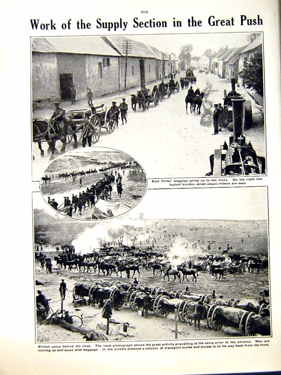 [Print 1916 World War Somme British Soldiers Camp London Horse 236Re287 Old Original]