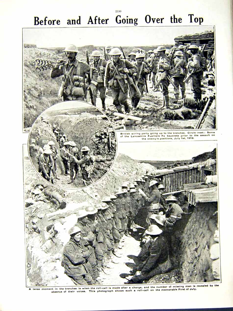 [Print 1916 World War Anzac Soldiers France Somme British 242Re287 Old Original]