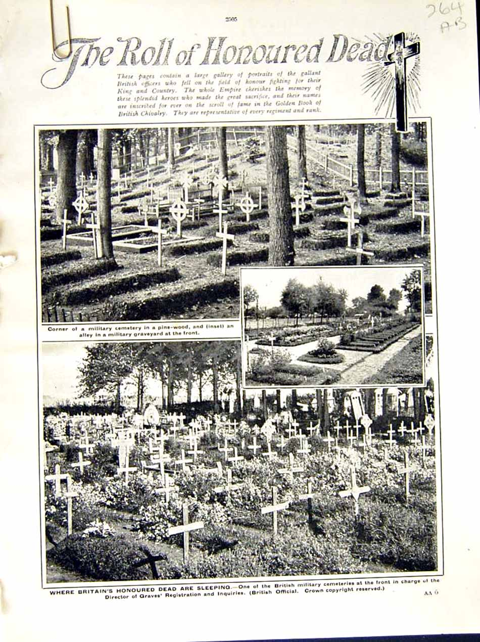 [Print 1916 World War Military Cemetary Dead Honoured Roll 264Ae287 Old Original]
