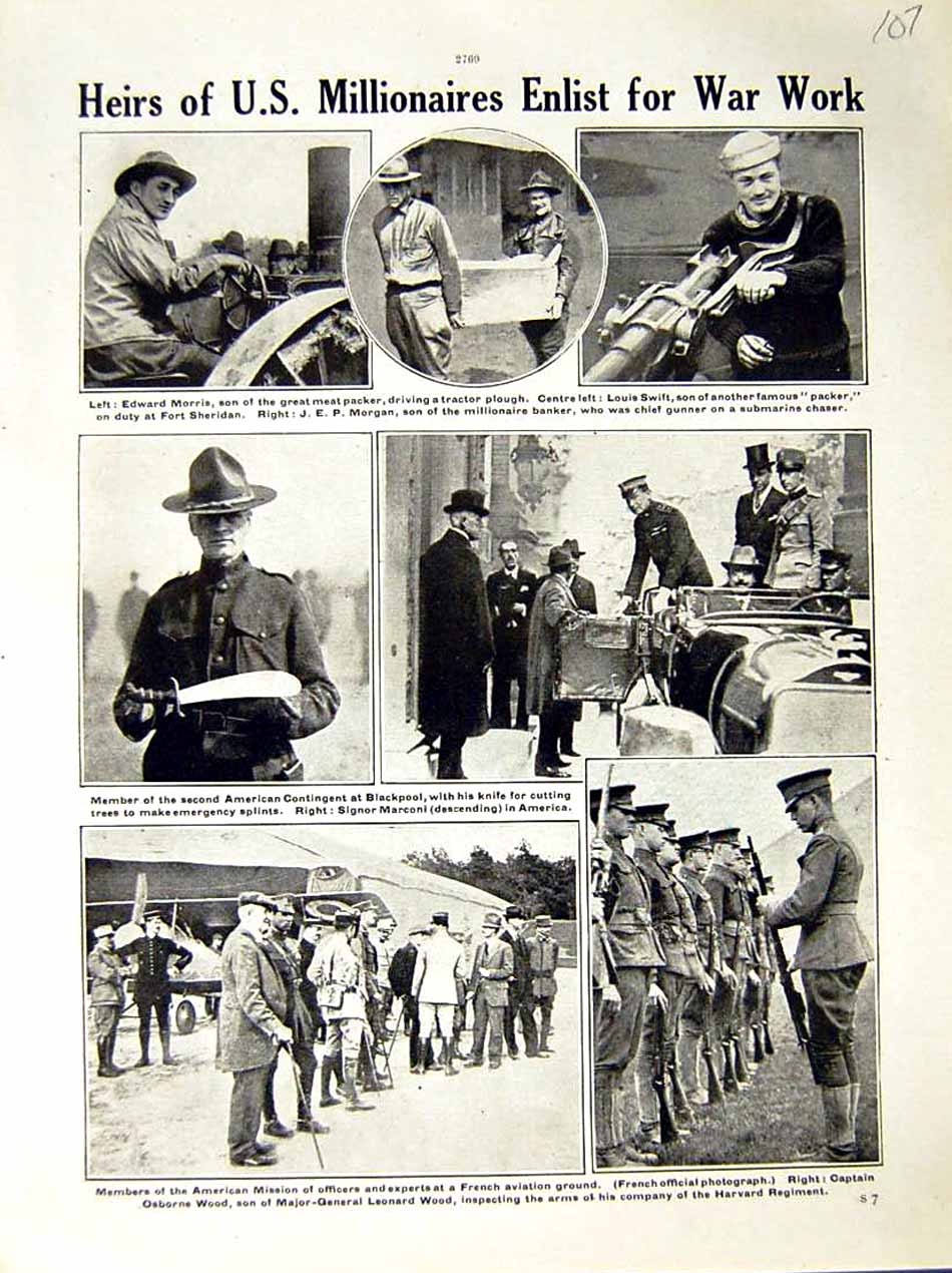 [Print 1917 World War Edward Morris American Soldiers Swift 107E288 Old Original]