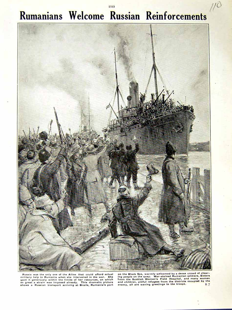 [Print 1917 World War Rumania Russian Ship Braila Soldiers 110E288 Old Original]