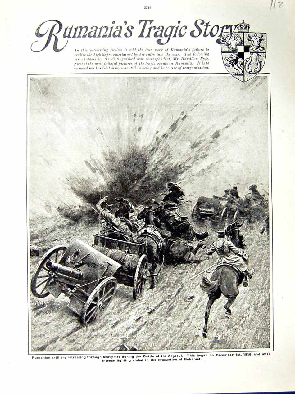 [Print 1917 World War Rumanian Artillery Battle Argesul Horses 112E288 Old Original]