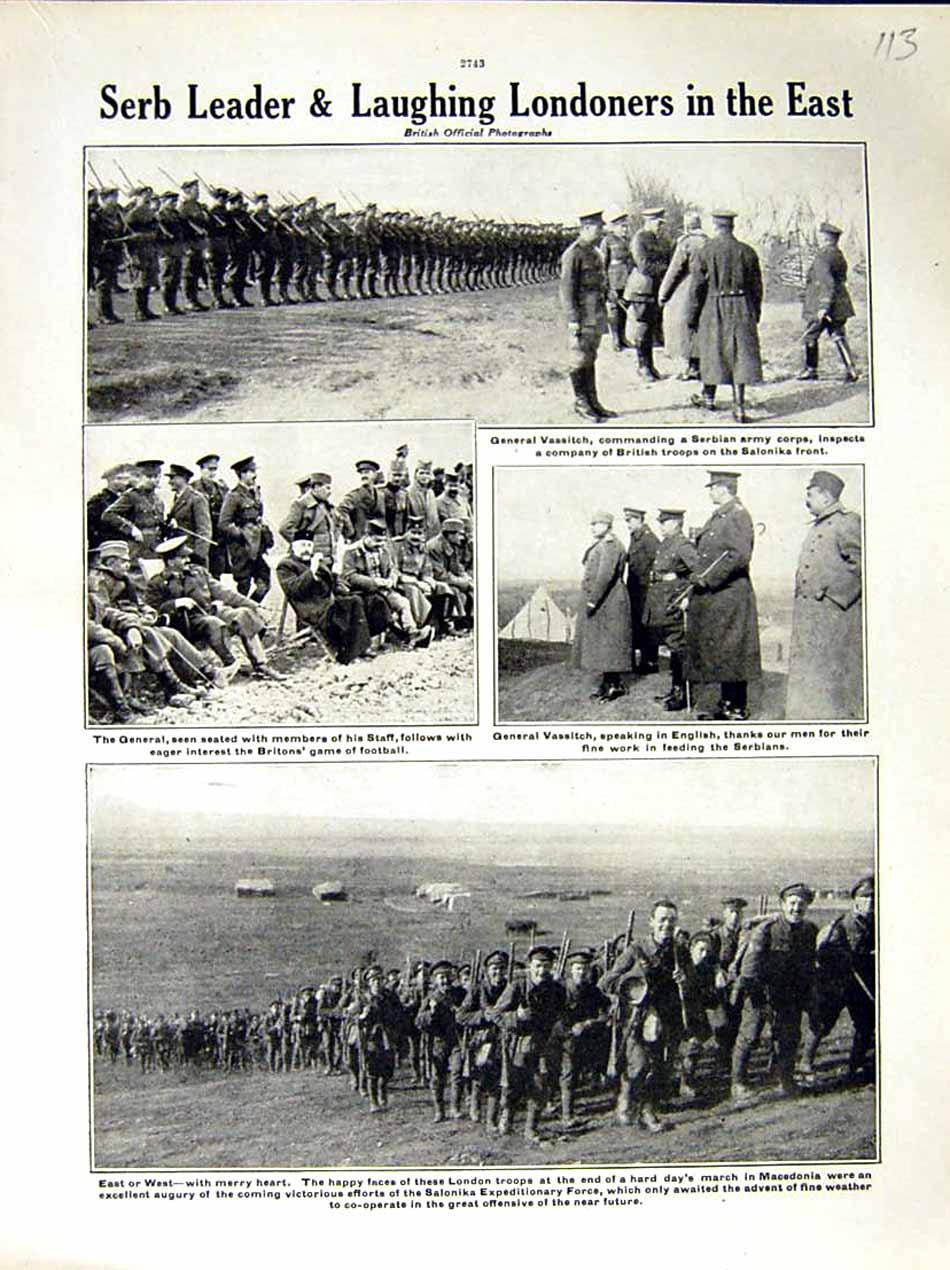 [Print 1917 World War Vassitch Serbian Army London Soldiers 113E288 Old Original]
