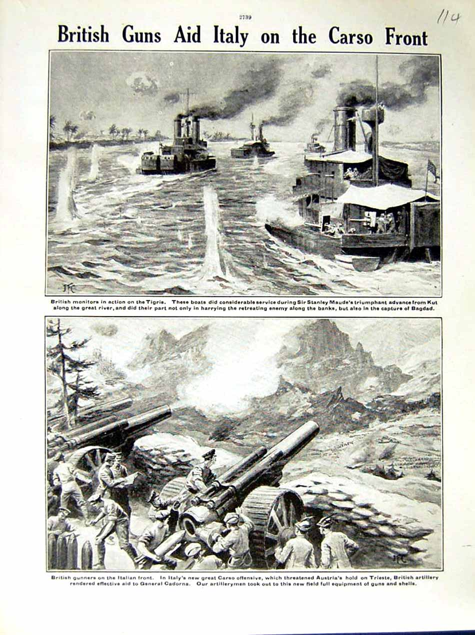[Print 1917 World War British Ships Tigris Gunners Soldiers 114E288 Old Original]