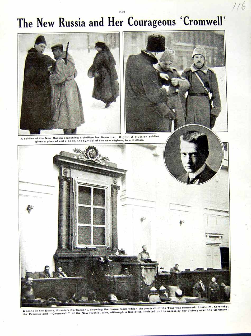 [Print 1917 World War Soldiers Russia Duma Cromwell Kerensky 116E288 Old Original]