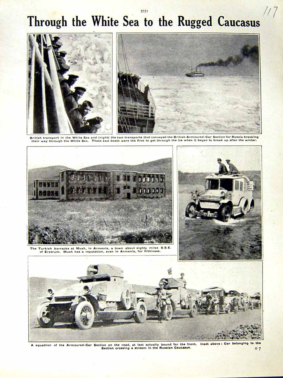 [Print 1917 World War British Ship Armoured Car Mush Barracks 117E288 Old Original]