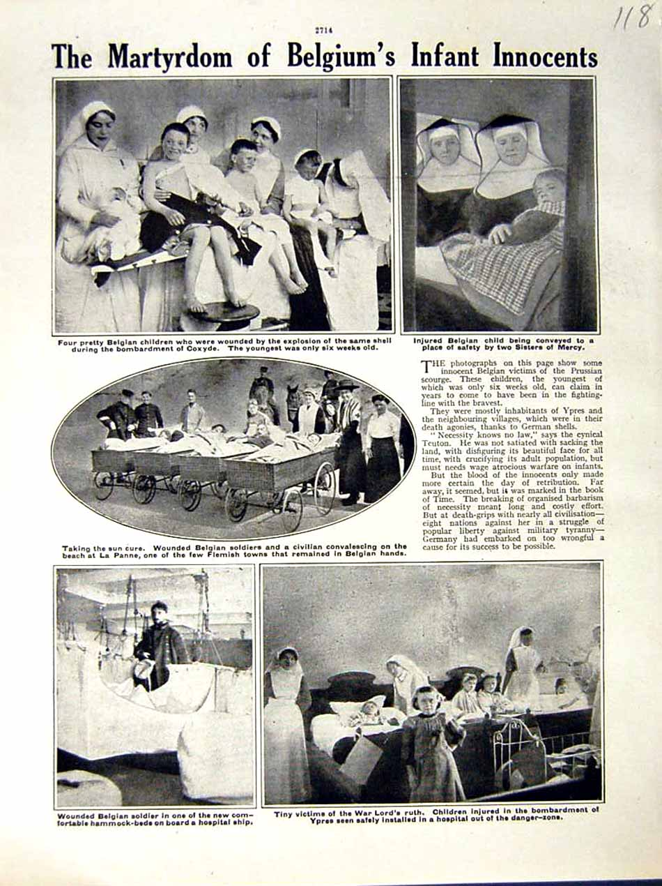 [Print 1917 World War Belgian Children Nurses Hosptial Ypres 118E288 Old Original]