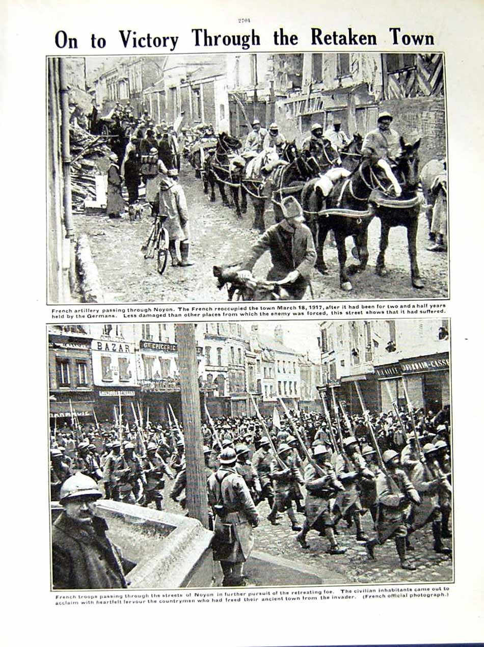 [Print 1917 World War French Soldiers Quentin Noyon Horses 208Re288 Old Original]