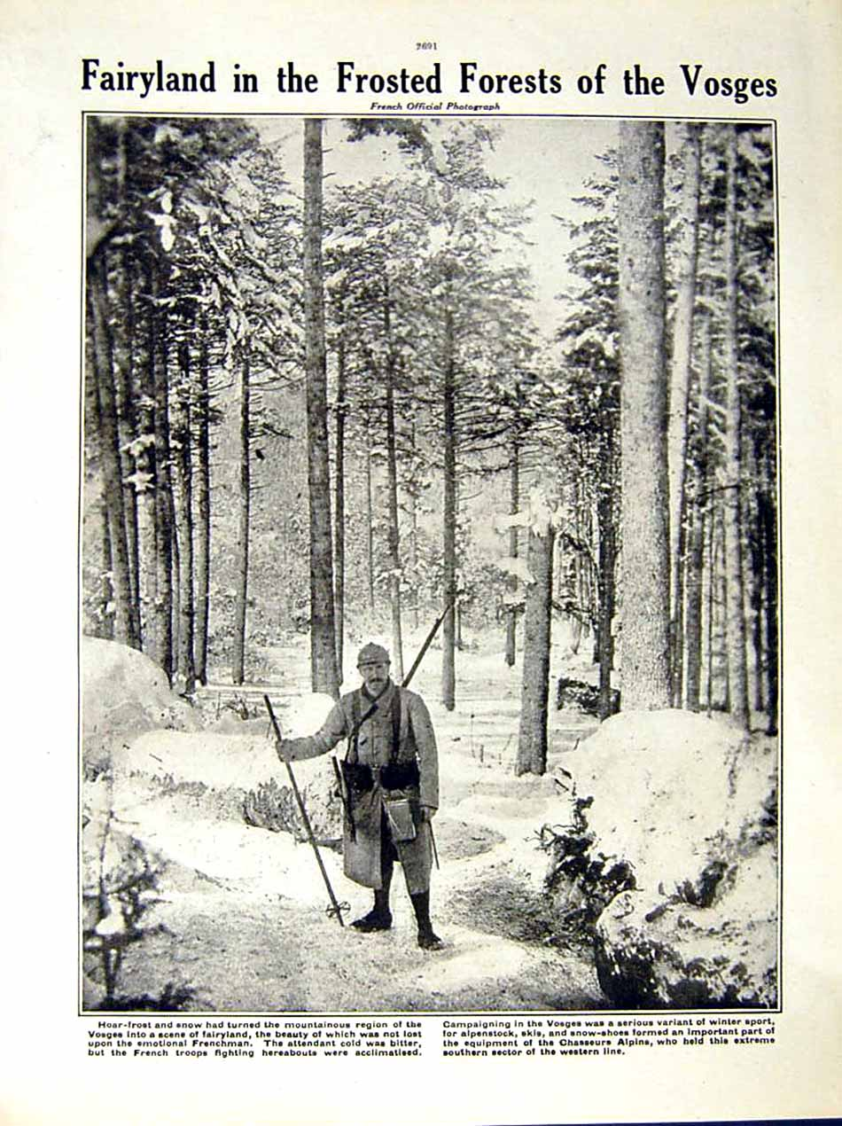 [Print 1917 World War Wounded Sodlier Snow French Vosges 213Re288 Old Original]