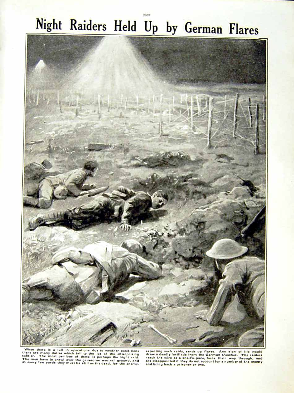 [Print 1917 World War Soldiers Somme German Trenches Wire 248Re288 Old Original]