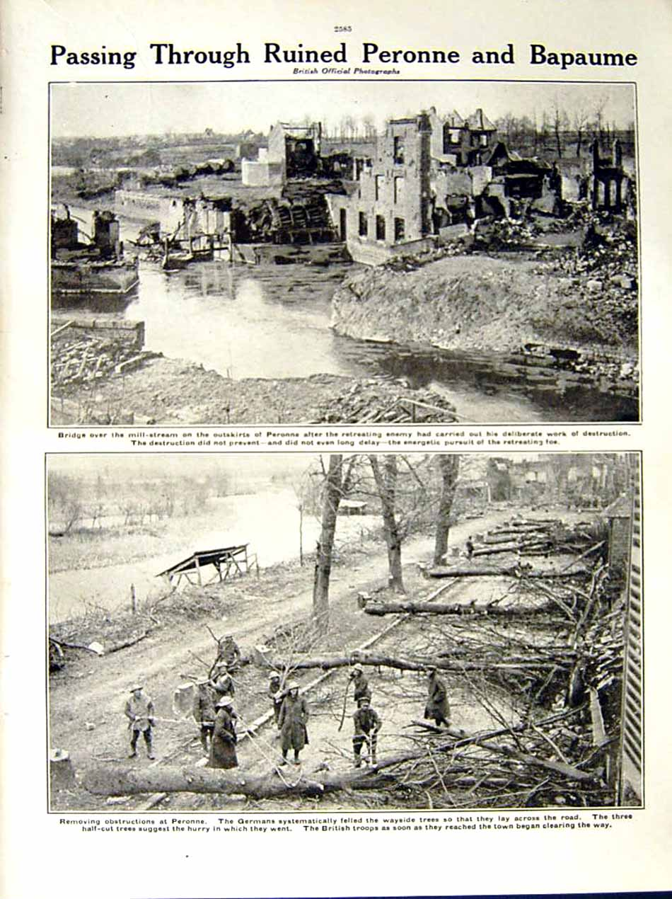 [Print 1917 War British Trench Ancre Forest Peronne Bapaume 254Re288 Old Original]