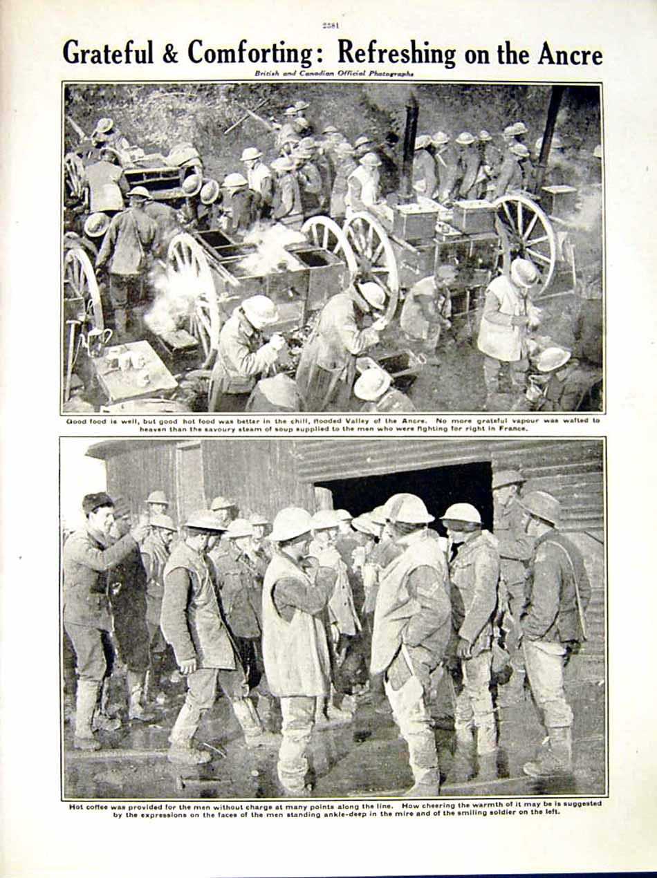 [Print 1917 World War Grandcourt Soldiers Ancre Food France 256Re288 Old Original]