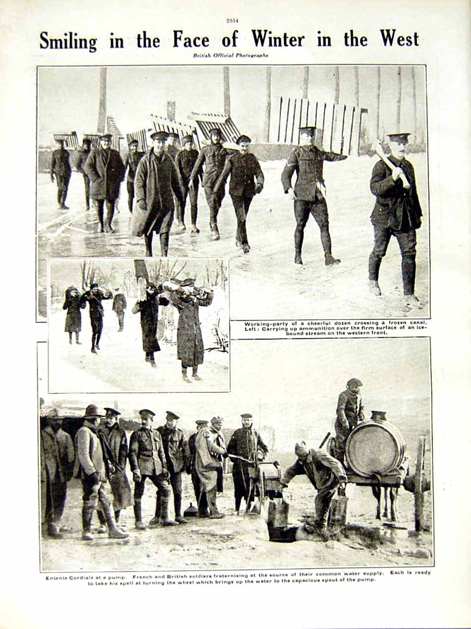 [Print 1917 World War English Tommy Soldier French Winter Ice 263Re288 Old Original]