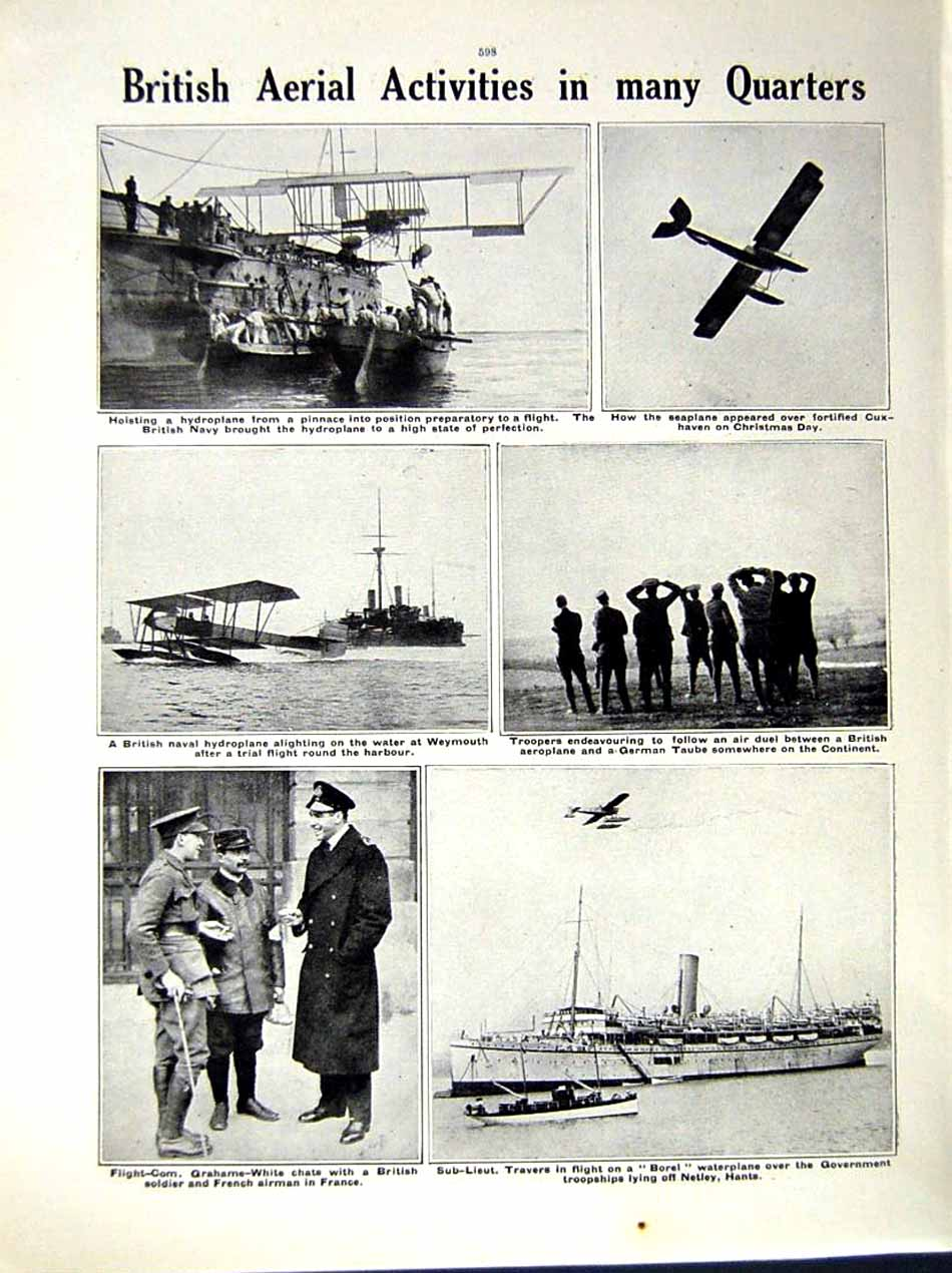 [Print 1914-15 World War Aeroplane France German Hydroplane 148Re289 Old Original]