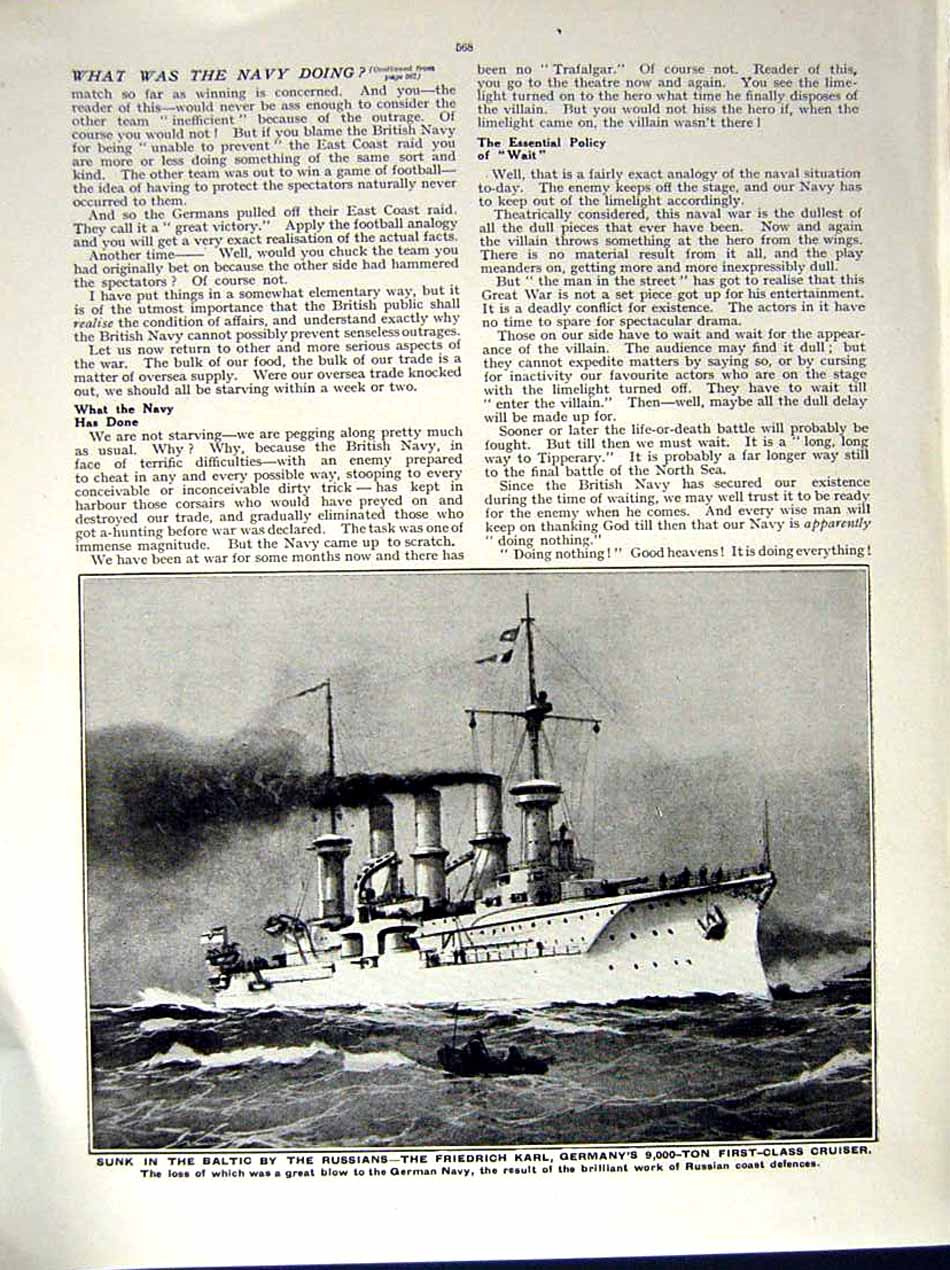 [Print 1914-15 World War British Ship Friedrich Karl Germany 158Re289 Old Original]