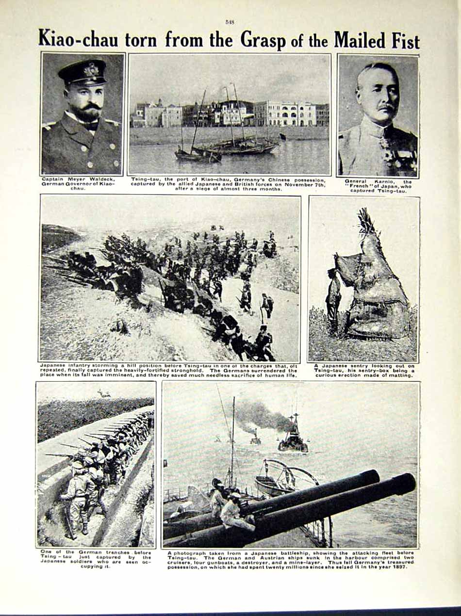 [Print 1914-15 World War Laoshan-Wan Japanese Soldiers Waldeck 167Re289 Old Original]