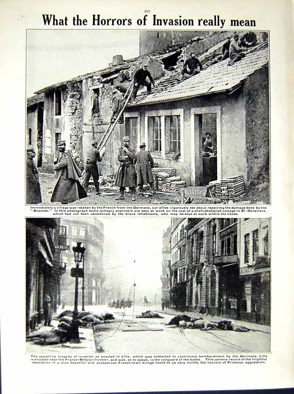 [Print 1914-15 World War British Soldiers Germans Lille France 178Re289 Old Original]