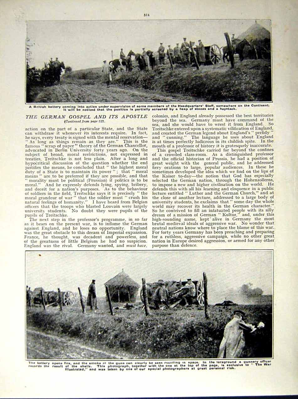 [Print 1914-15 World War Magnard Soldiers Fire British Battery 182Re289 Old Original]