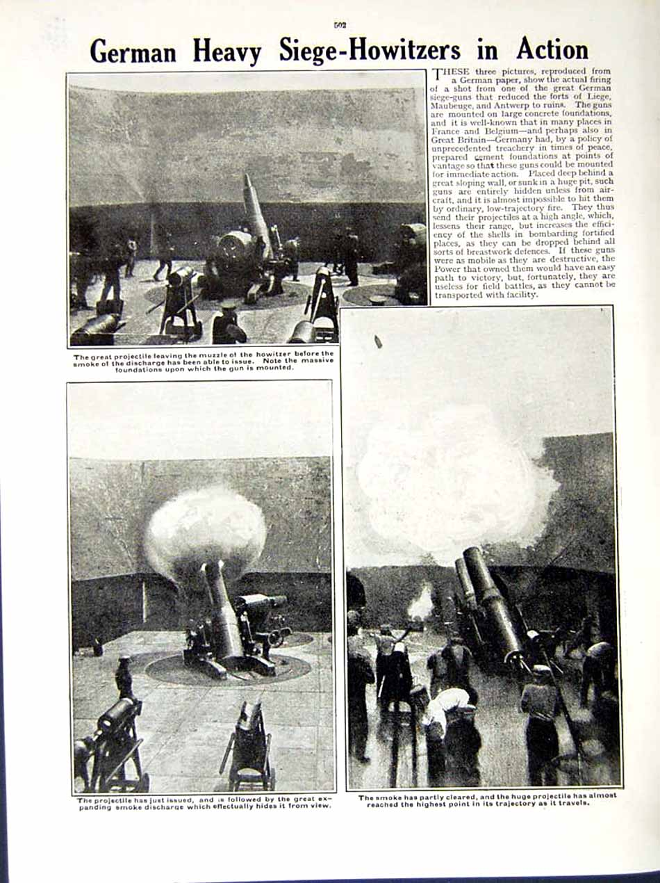 [Print 1914-15 World War Catherine Fort Maubeuge German Guns 187Re289 Old Original]