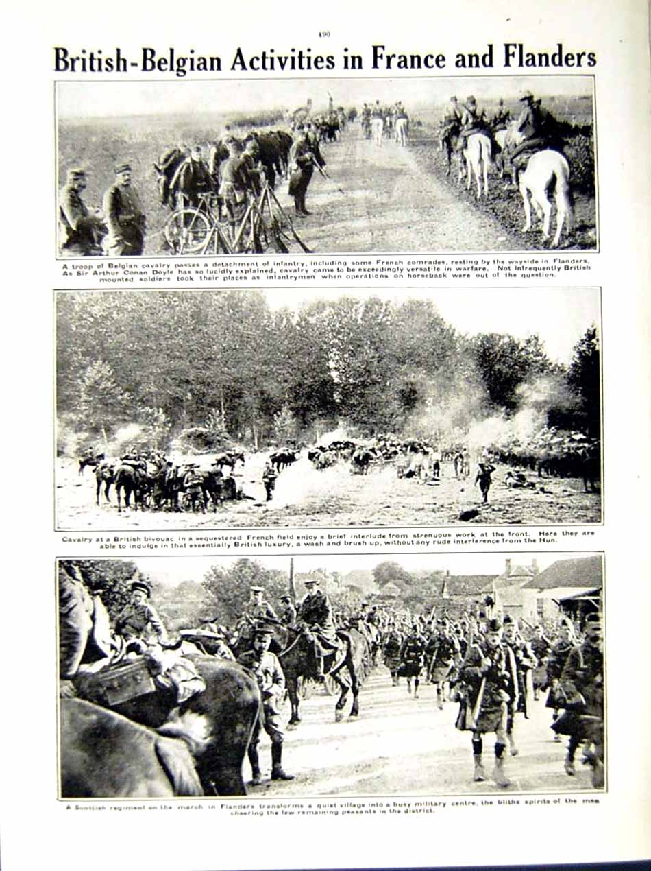 [Print 1914-15 World War Prussian Scout Belgian Soldiers Doyle 193Re289 Old Original]
