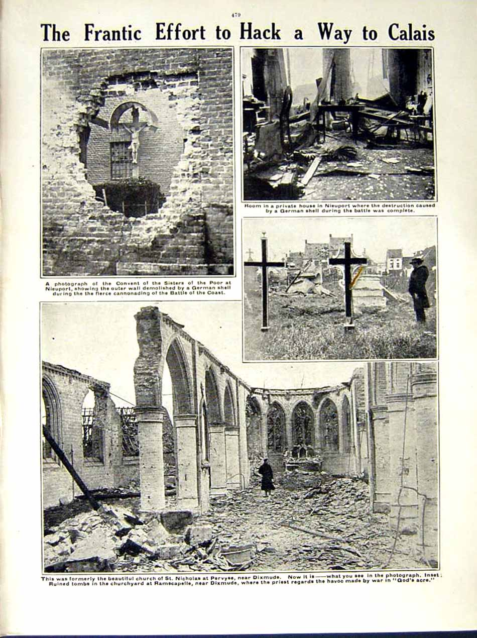 [Print 1914-15 World War German Soldiers Ypres Convent Dixmude 198Re289 Old Original]