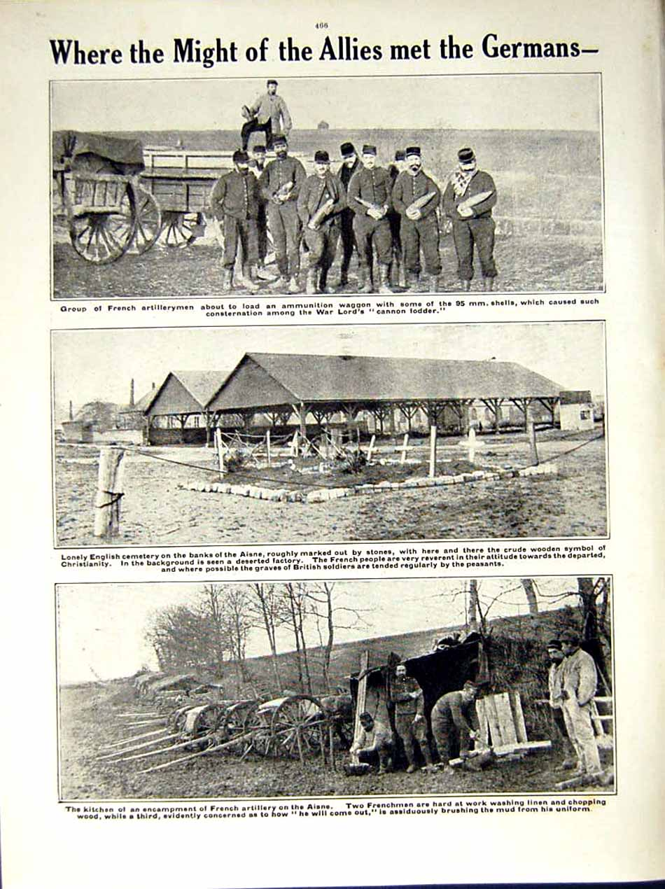 [Print 1914-15 World War French Chasseurs Soissons Soldiers 204Re289 Old Original]