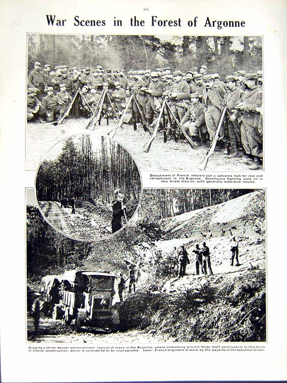 [Print 1914-15 World War Chasseurs Prussia Soldiers Argonne 205Re289 Old Original]