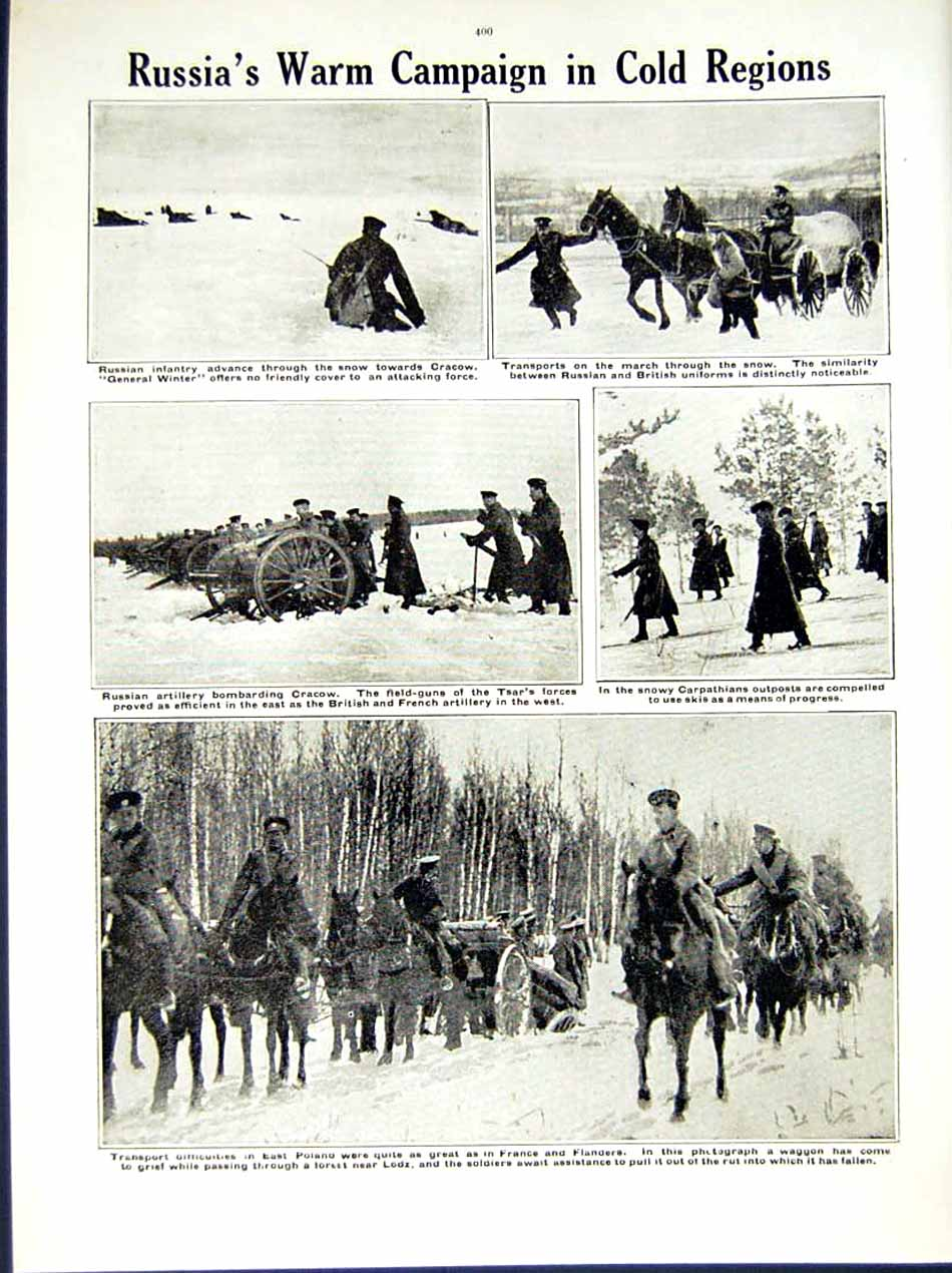 [Print 1914-15 World War French Soldier Drum Snow Russian Army 232Re289 Old Original]