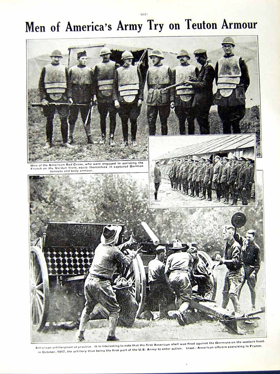 [Print *0530 World War 1917-18 Philipot American French Soldiers Red 169Re290 Old Original]
