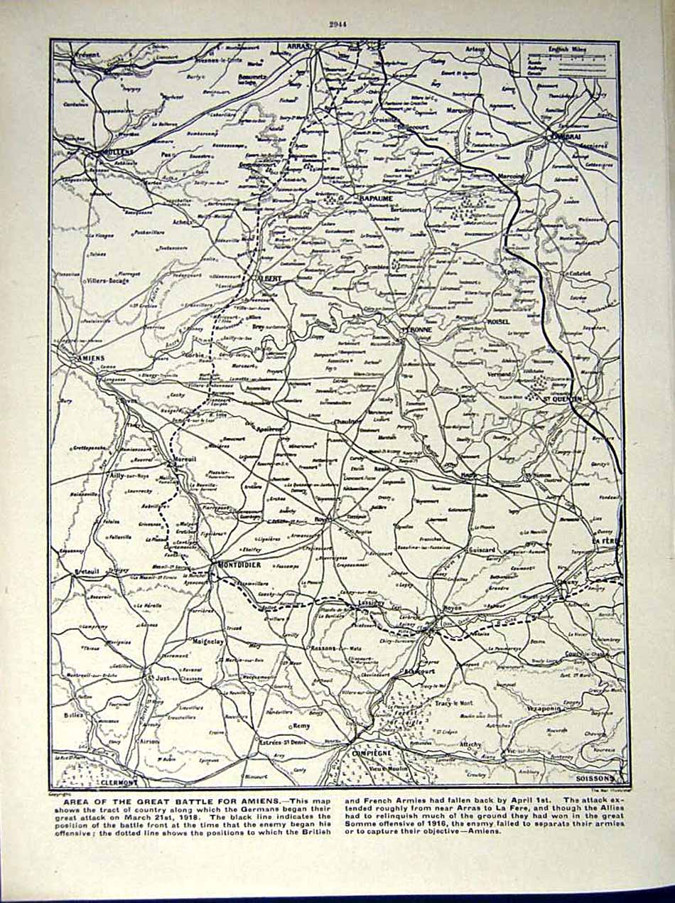 [Print *0564 World War 1917-18 British Soldiers France Map Peronne 204Re290 Old Original]