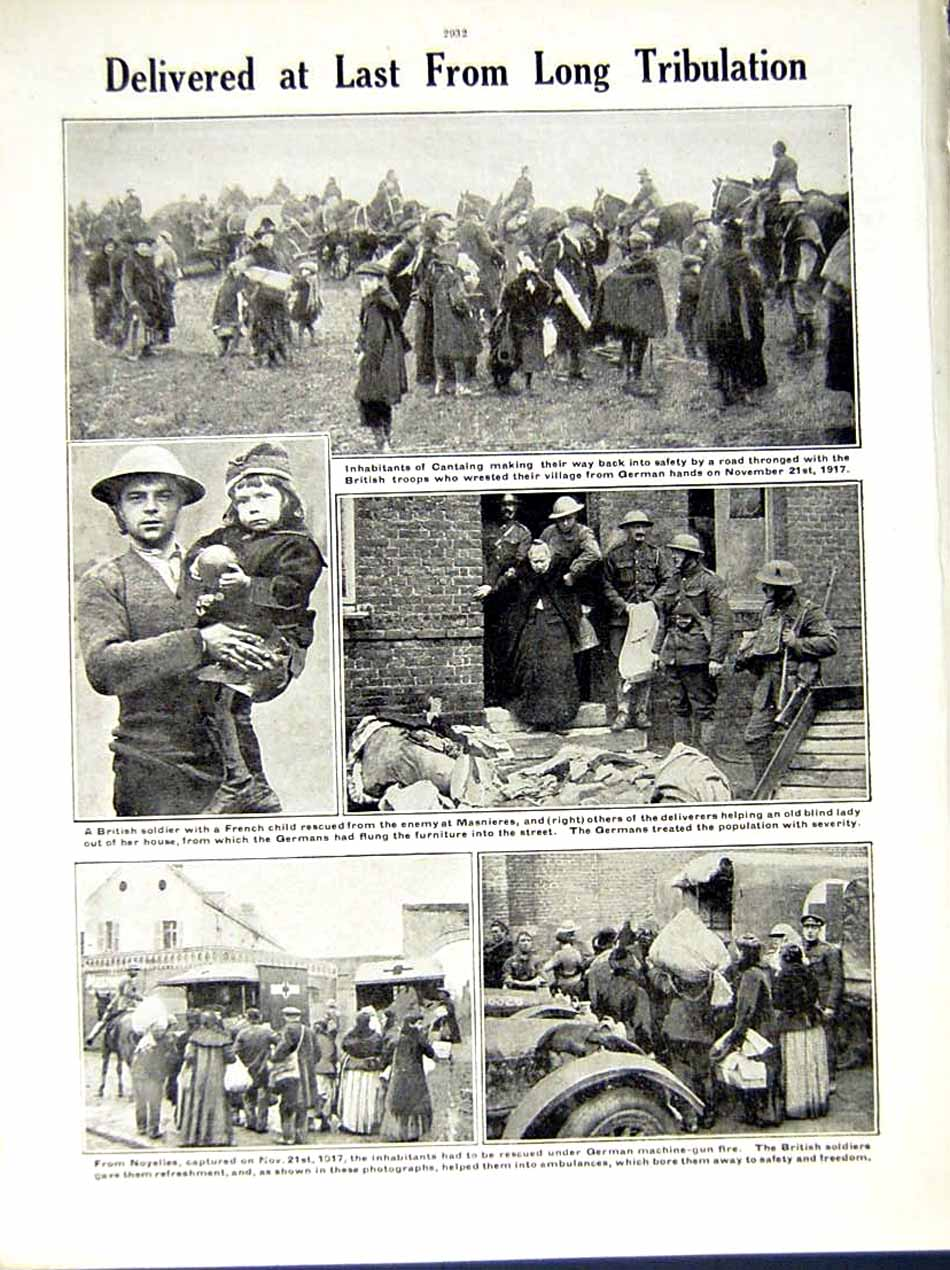 [Print *0570 World War 1917-18 British Soldiers Swinton Cantaing 210Re290 Old Original]