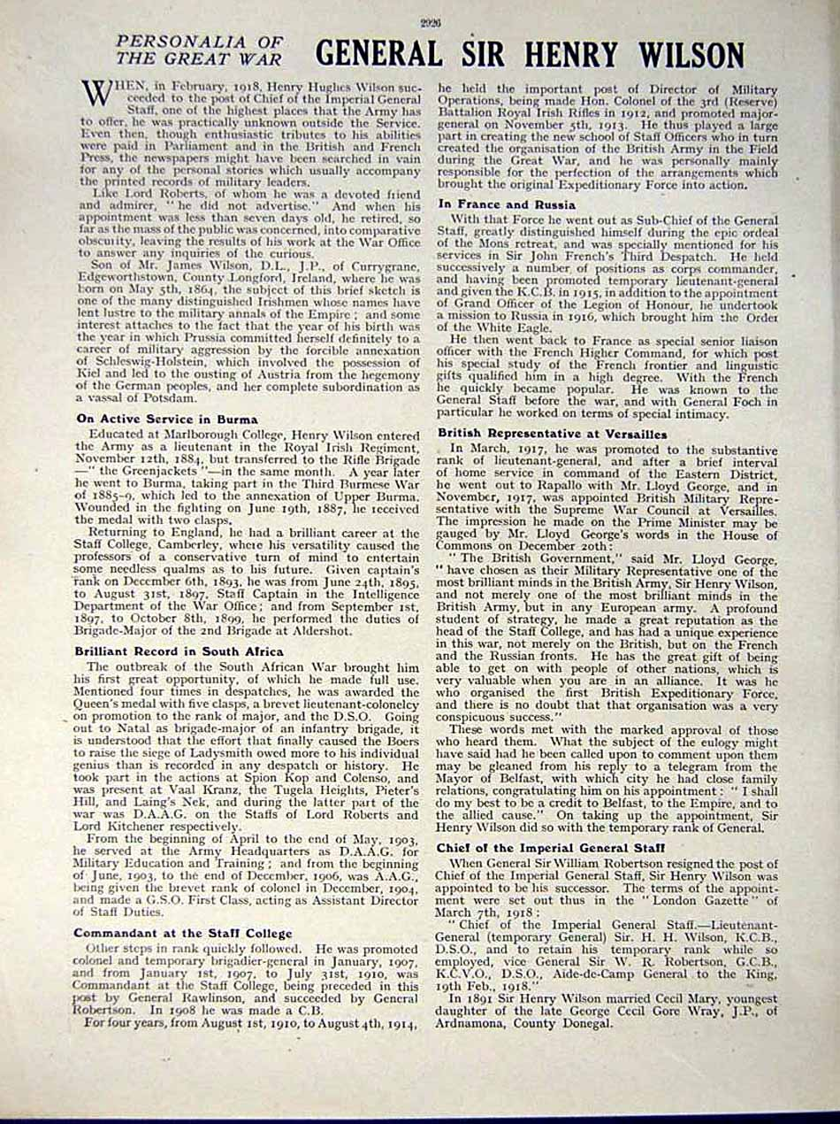 [Print *0572 World War 1917-18 Sir Henry Hughes Wilson Imperial 212Re290 Old Original]