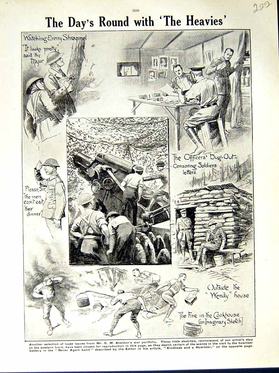 [Print *0581 World War 1917-18 Sheldon Soldiers Dug-Out Cookhouse 222E290 Old Original]