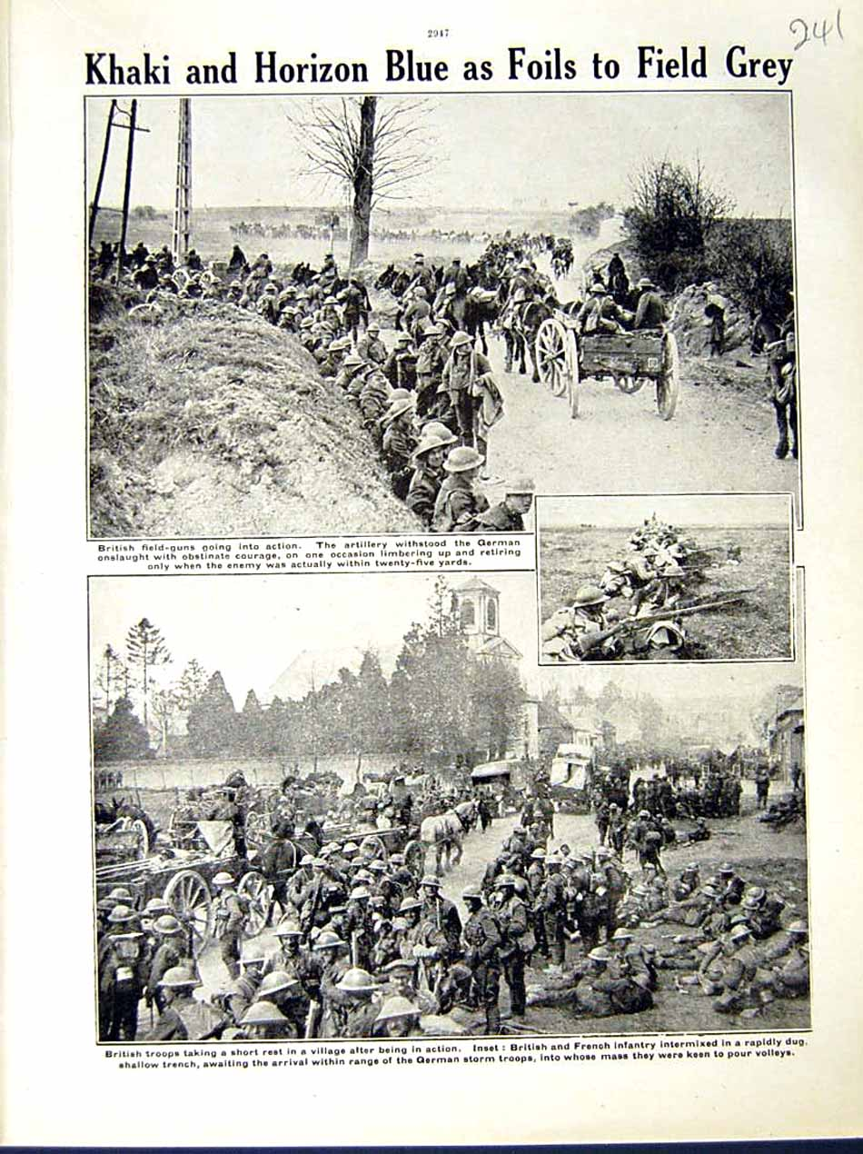 [Print *0599 World War 1917-18 British Soldiers French German Troops 241E290 Old Original]